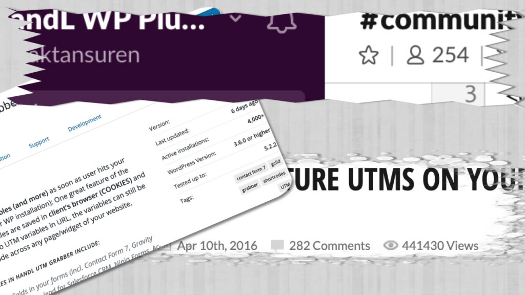 Some numbers from WordPress HandL UTM Grabber plugin